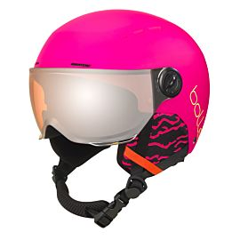 Quiz Visor skihelm junior matte hot pink with orange gun visior