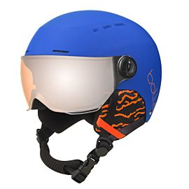 Bollé Quiz Visor skihelm junior matt royal blue with orange gun visior