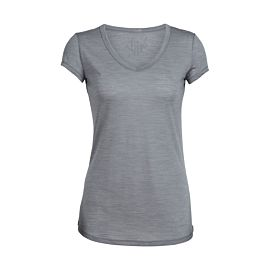 Icebreaker Spheria Short Sleeve V shirt dames fossil heather
