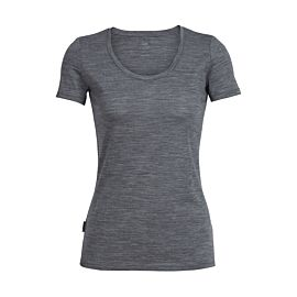 Icebreaker Tech Lite Short Sleeve Scoop shirt dames gritstone heather