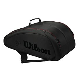 Wilson Federer Team 12 pack tennistas black red zijkant