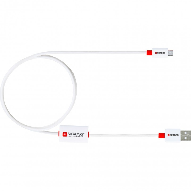SKROSS BUZZ Alarm Cable Micro USB kabel wit