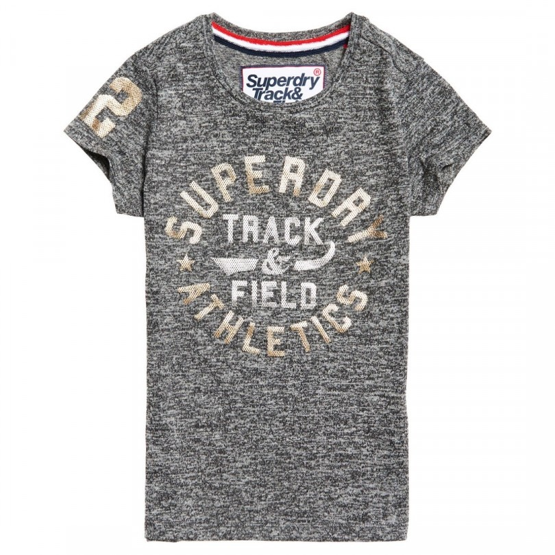 Superdry Track & Field Entry Tee shirt dames black noire grindle