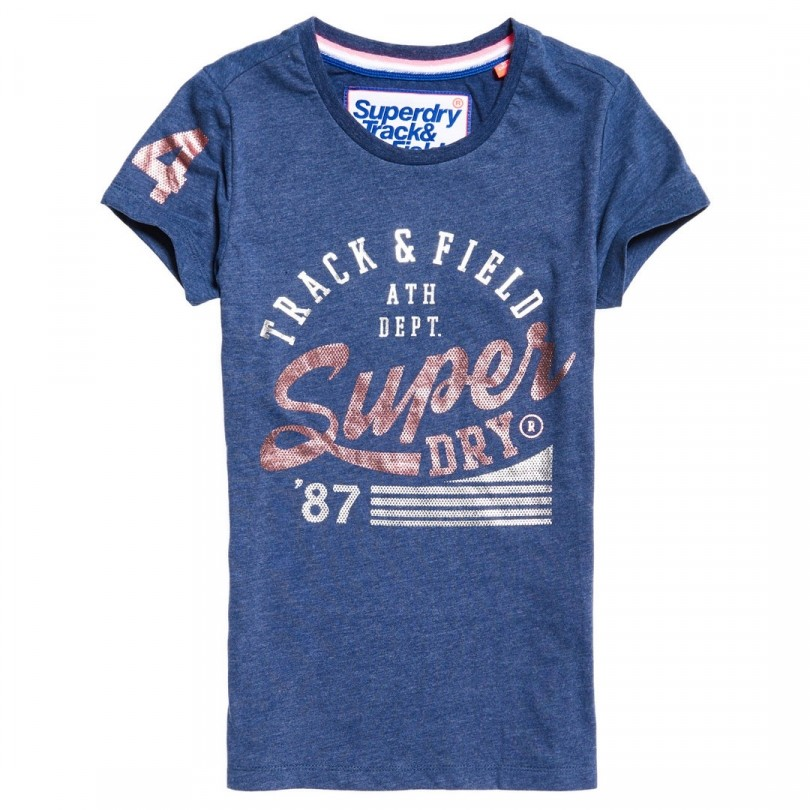 Superdry Track & Field Entry Tee shirt dames track star navy marl