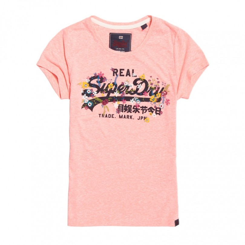Superdry Vintage Logo Puff Embroidery Entry Tee shirt dames coral snowy
