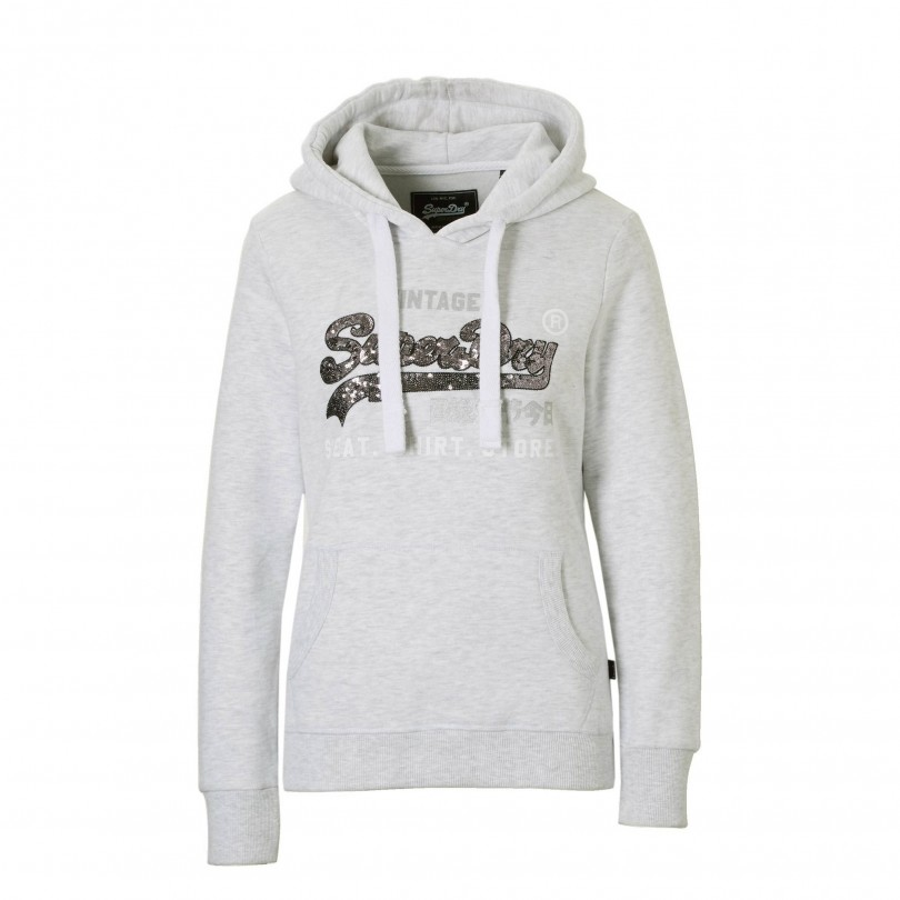 Superdry Shirt Shop Sequin Entry Hood trui dames ice marl