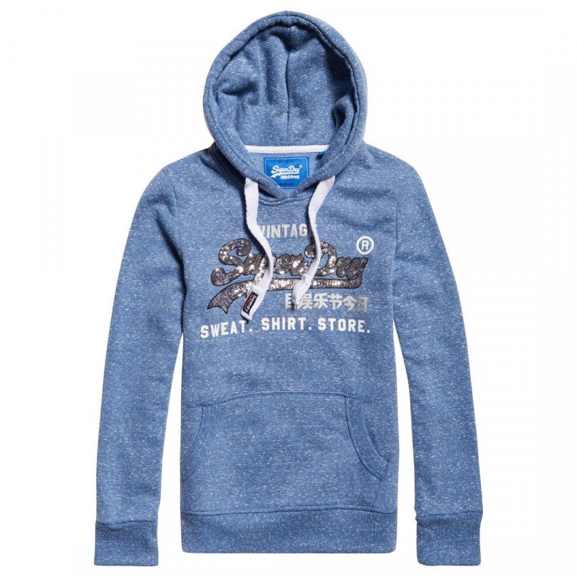 Superdry Shirt Shop Sequin Entry Hood trui dames cali blue snowy