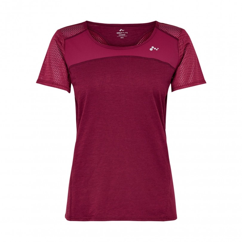 Only Play Effen sportshirt dames rood
