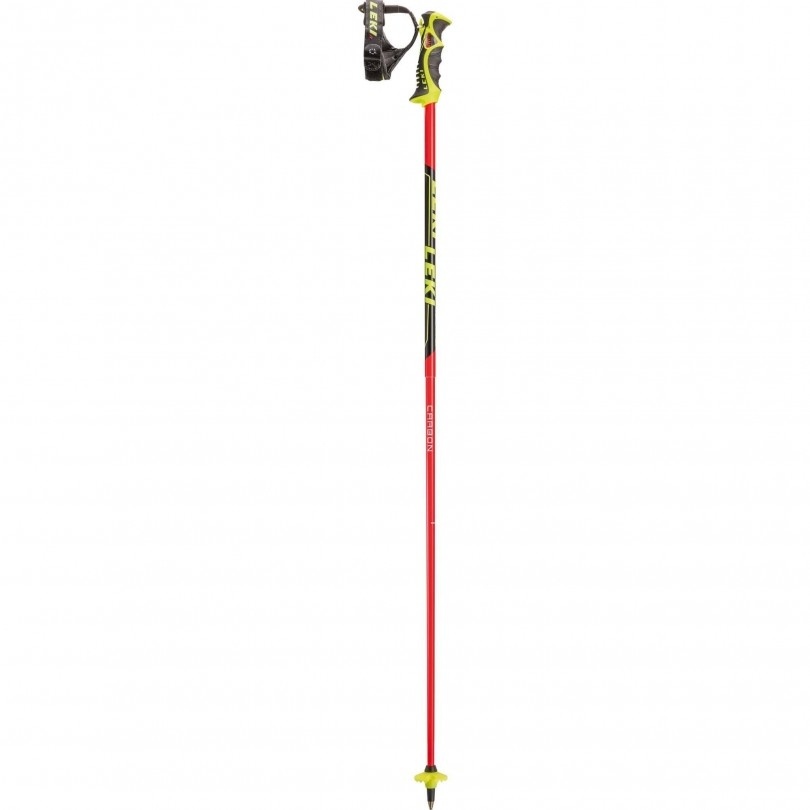 Venom SL skistokken neon red black white