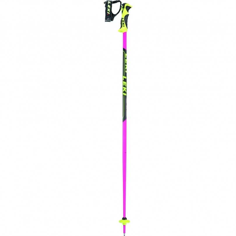 Leki Worldcup Lite SL skistokken junior neon pink black white