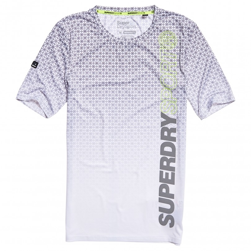 Superdry Athletic AOP shirt heren white geo star fade
