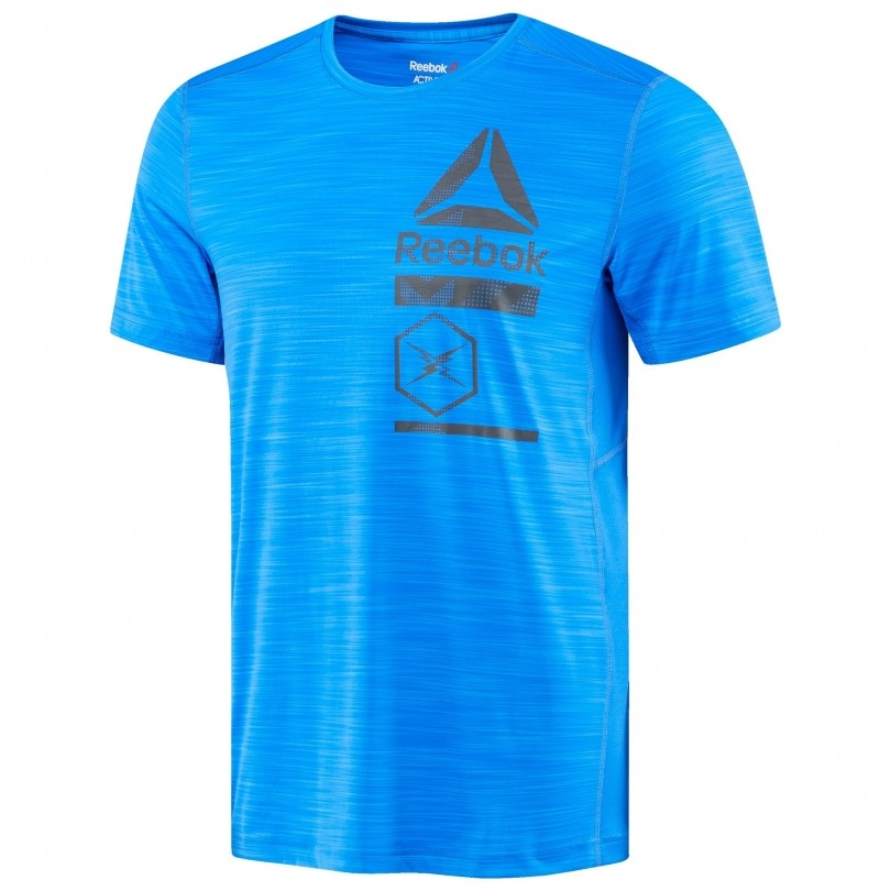 Reebok Activchill Zoned Graphic fitness shirt heren vital blue
