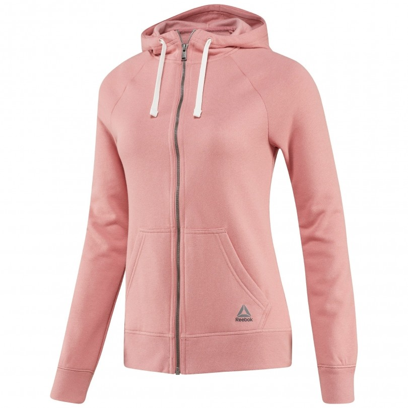 Reebok Elements Fleece Full Zip Hoodie fitness vest dames sandy rose