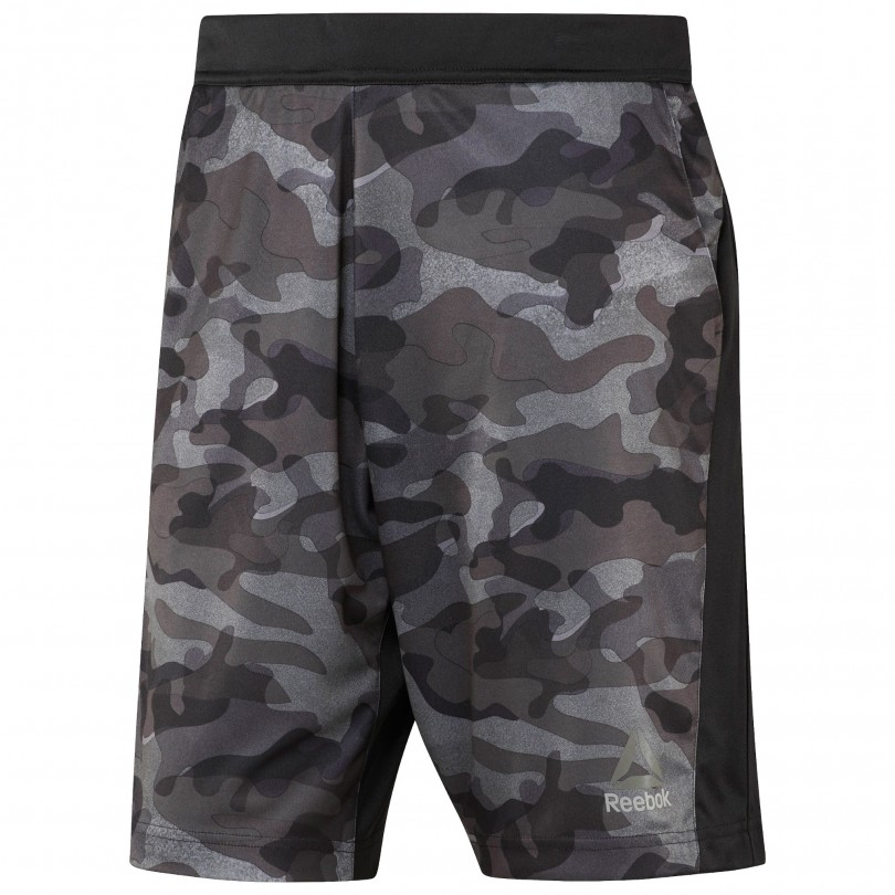 Reebok Speedwick Geweven Short Camo Print fitness broek heren black