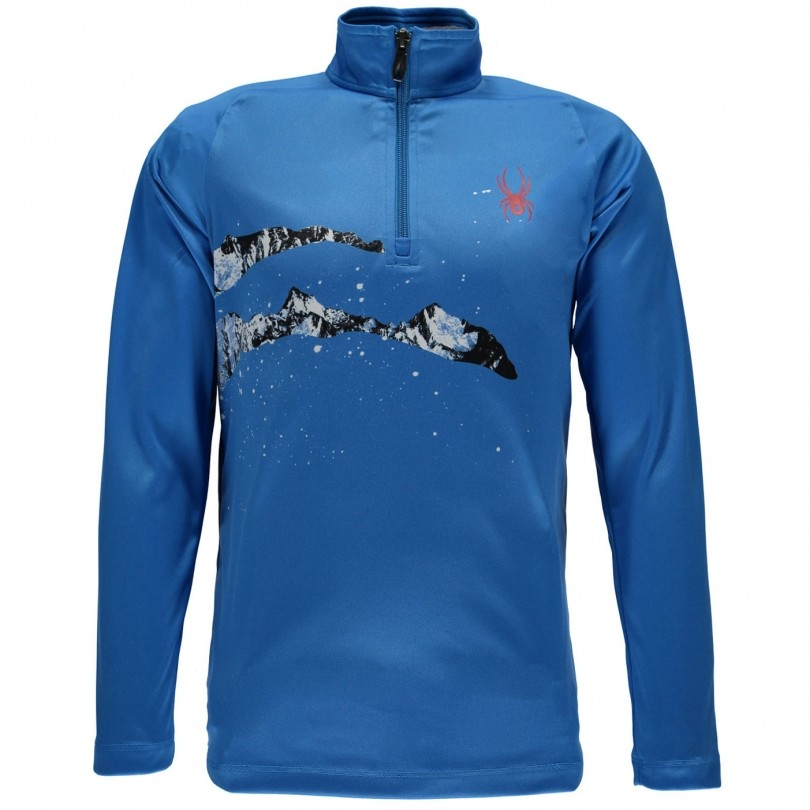 Spyder Limitless 1/4 Zip Dry Web skipully junior french blue/slash