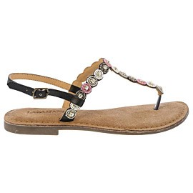 lazamani beads sandalen dames black