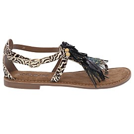 lazamani peacock feather sandalen dames white