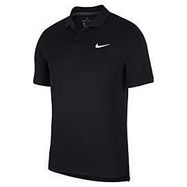nike court dri-fit tennispolo heren black white