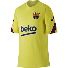 nike fc barcelona strike voetbalshirt junior sonic yellow dark obsidian