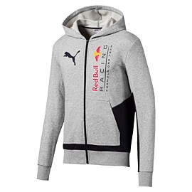 puma red bull racing logo hooded sweat jacket heren light gray heather
