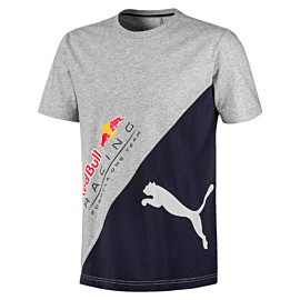 puma red bull racing logo tee plus shirt heren light gray heather