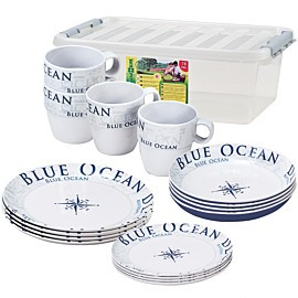 brunner stack box blue ocean 16-delig campingservies set