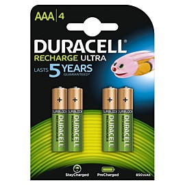 duracell rechargeable nimh stay charged aaa hr03 800mah batterij