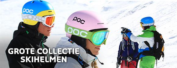 Grote collectie skihelmen