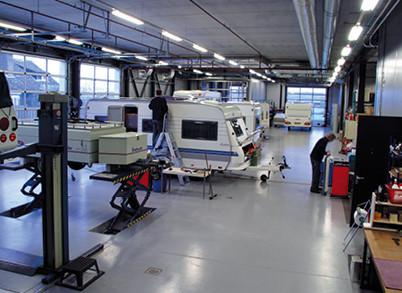 Werkplaats voor caravans en vouwwagens